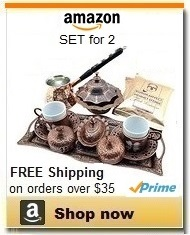 Turkish Coffee Making Serving Gift Set with Copper Pot