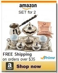 Silver Turkish Coffee Set with Copper Pot