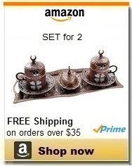 Copper Turkish Coffee Serving Set for 2