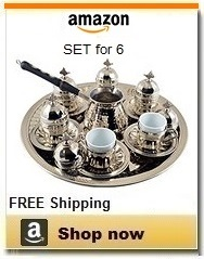 Turkish coffee sets - Silver Plated Copper with Turkish Pot