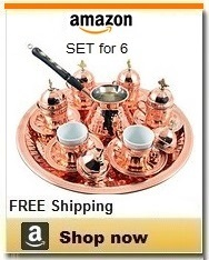 Turkish coffee sets - Copper with Premium Turkish Pot
