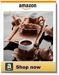 Ottoman copper Turkish coffee set