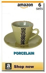 Porcelain demitasse cups and saucers.