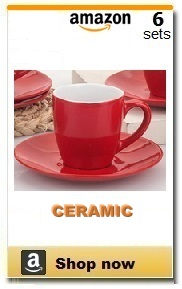 Red demitasse cups.