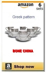 Greek cups and saucers.