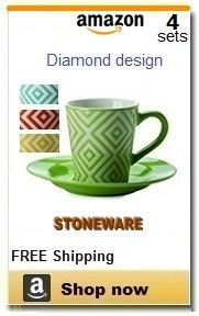 Stoneware espresso cups and saucers.