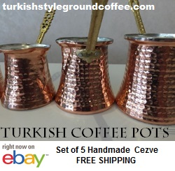 Turkish copper coffee pots