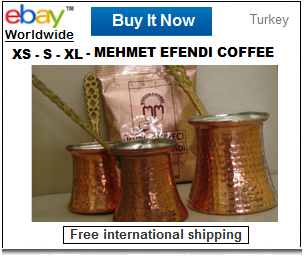 Turkish coffee pots with ground coffee