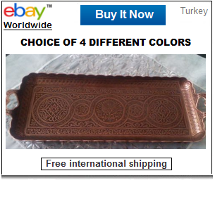 Rectangle copper Turkish coffee tray