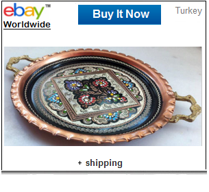 Decorated oval Turkish coffee tray