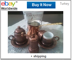 Traditional Turkish coffee set with ground coffee