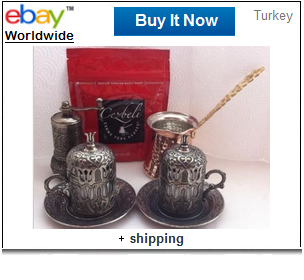Turkish coffee handmade copper set with Cezbeli coffee