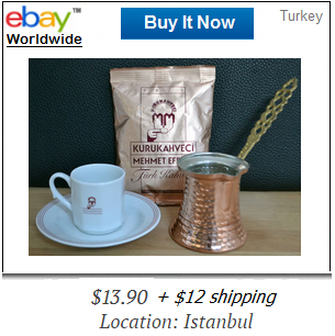 Mehmet Efendi Turkish coffee with cup and pot