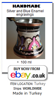 Handmade copper Turkish coffee pot cezve with silver and blue enamel engraved