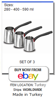 Set of 3 stainless steel cezve