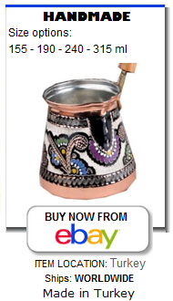 Traditional hand painted copper Turkish coffee maker pot cezve