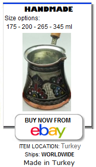 Decorated, hand painted Turkish coffee pot