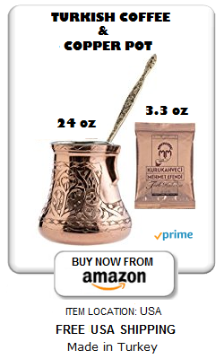 Engraved copper Turkish coffee pot and Mehmet Efendi coffee 100g