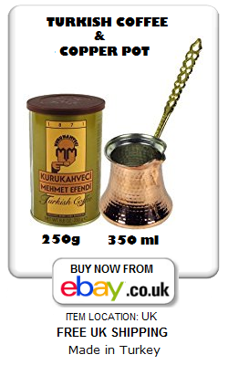 Copper Turkish coffee pot and Mehmet Efendi coffee 250g