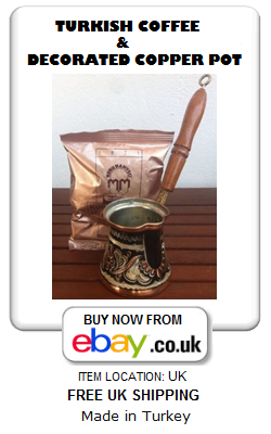 Decorated copper Turkish coffee pot and Mehmet Efendi coffee 100g