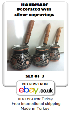 Decorated copper Turkish coffee set of 3