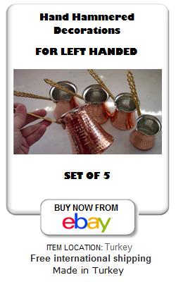 Copper Turkish coffee set of 5 for Left handed