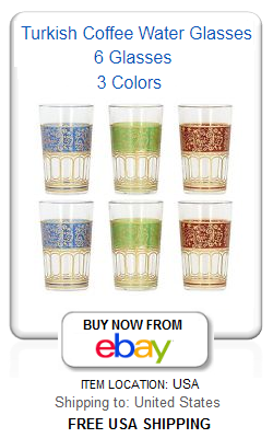 Traditional Turkish coffee water glasses