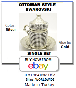 Swarovski Ottoman Turkish coffee cup with saucer and lid