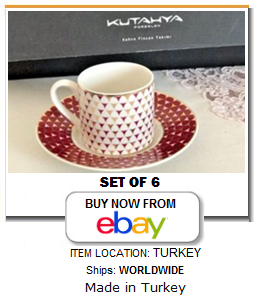 Kutahya Turkish coffee cups for 6
