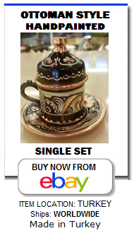 Handmade luxury Ottoman style Turkish coffee cup and saucer