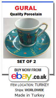 Gural Turkish coffee cups set for 2 people