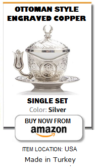 Ottoman silver plated Turkish coffee cup set