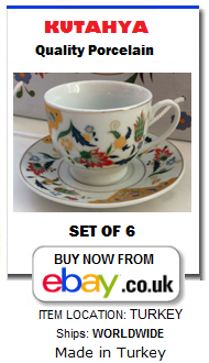 Set of 6 traditional Turkish coffee cups and saucers