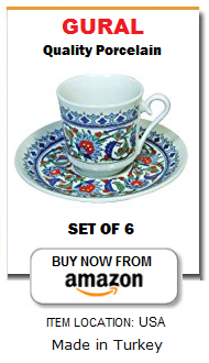 Traditional Turkish coffee cups set of 6